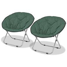 Sedie Pieghevoli Moon Chair 2 Pz Verde In Acciaio 80x67x77 Cm