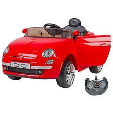 Auto Elettrica per Bambini Fiat 500 12 Volt con Radiocomando Genitori Colore Rosso