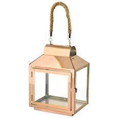 Lanterna Inox Manico In Corda Rame 20x14xh28 Illuminazione