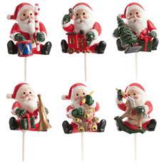Kit Con 6 Decorazioni Per Dolci Di Babbo Natale Taglia Unica