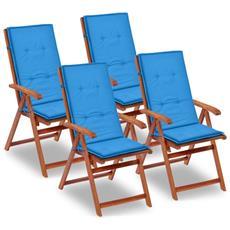4 Pz Cuscini Per Sedie Da Giardino Blu 120x50x3 Cm