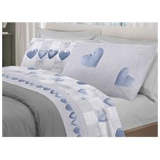 Completo Lenzuola In Morbida Flanella Disegno Patchwork Matrimoniale Azzurro