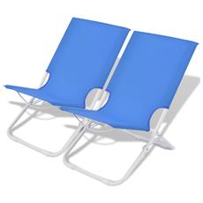 Sedie Pieghevoli Da Campeggio 2 Pz Acciaio Blu 48x60x62 Cm