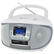 Radio Portatile CDKU-55C Sintonizzatore AM / FM Lettore CD Porta USB Slot SD / MMC Ingresso AUX colore Bianco / Argento