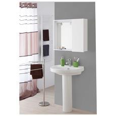 Specchiera Bianca 1 Anta Arredo Bagno 67x16x60,5 Cm - Bianco