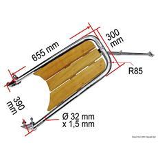 Delfiniera inox / teak con scaletta 3 gradini