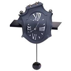Orologio a pendolo ''Pendolo mensola'' in resina decorata a mano Meccanismo al quarzo tedesco UTS Dimensione cm 25x24x15 Colore nero opaco