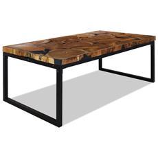 Tavolino Da Caffè In Legno Di Teak E Resina 110x60x40 Cm