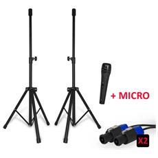 Lot Speaker Stand + 2 Cavo Speakon / Speakon 5 Metri + Micro Wired
