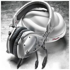 M-100 Stereofonico Padiglione auricolare Argento, Bianco cuffia e auricolare