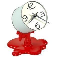 Orologio da tavolo ''Orologio col-ore in resina decorata a mano Meccanismo al quarzo tedesco UTS Dimensione cm 18x16x22 Colore rosso lucido