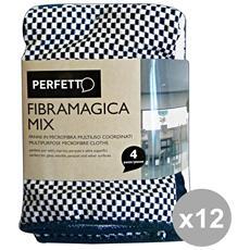 Set 12 Panni Multiuso Fibra Magica X 4 Pezzi 0263d Attrezzi Pulizie