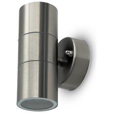 Lampada Da Muro Applique 2 X Gu10 Acciaio Inox Esterno Ip44 Vt-7622 7500