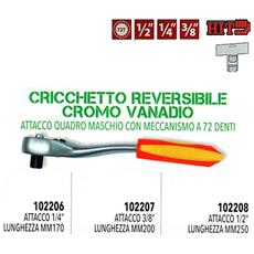 Cricchetto Reversibile Estensibile 1/2'' 3/8'' 1/4'' Italy 72 Denti Cromo Vanadio - 102208 1/2