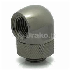 Adapter 90 Grad 1/4 auf IG 1/4 Zoll - drehbar, black chrome