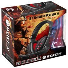 Stinger FX 80 H Stereofonico Padiglione auricolare Nero, Rosso cuffia e auricolare
