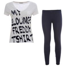 Completo Donna T-shirt + Leggings 7/8 S Blu Bianco