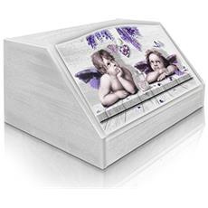 Portapane Con Decoro In 'cupids Violet' In Legno White Dalle Dimensioni Di 30x40x20 Cm
