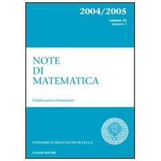 Note di matematica. Vol. 23