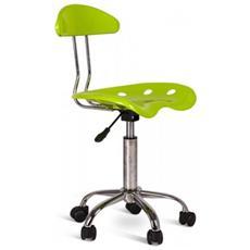 Sedia Alzabile In Plastica Verde Con Base Cromata E Rotelle Mod. titti Om 126 V