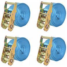 Cinghie d'Ancoraggio 4 pz a Cricchetto 2 T 6mx38mm Blu