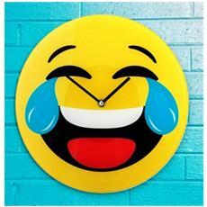 79/3230 Orologio Da Parete Emoticon Risata Con Lacrime In Vetro Diametro 30 Cm