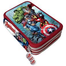 Astuccio Portapastelli Scuola 3 Zip Avengers Accessoriato Con Pastelli Pennarelli
