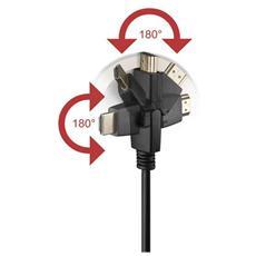 Cavo HDMI Highspeed con Ethernet A / A M / M Ruotabile, 1.0m, Nero