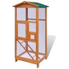 Gabbia In Legno Per Uccelli 65x63x165 Cm