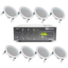 Impianto Audio Attivo Filodiffusione Amplificatore + 8 Altoparlanti Incasso + Matassa 100 Mt. Art. 952533952046