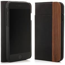 Flip Cover Custodia in Legno Naturale per iPhone X Colore Noce e Nero