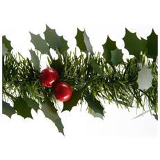 Frangia Agrifoglio Decorativa per Albero di Natale Verde da 100 mm x 2.7 m