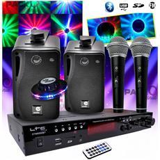 Karaoke Hifi Bambino 100w + 2 Usb Sd Microfoni Bluetooth + Fm Radio + Cavi + Effetto Del Ufo Led Rgb
