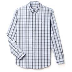 Camicia Pinpoint Chek Botton Down Bianco Blu S