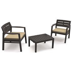 Salottino LOM05CCA Set per Interno ed Esterno 2 Poltrone con Cuscino e 1 Tavolino Colore Antracite