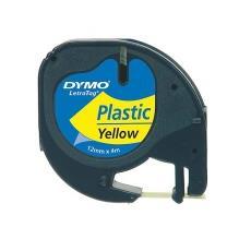 Nastro Laminato in Plastica per Etichettatrice Formato 12 mm x 4 m Nero su Giallo