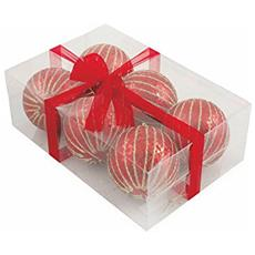 Melon Set 6 Palle Decorative Di Natale, Polyfoam, Rosso, 8x8x8 Cm