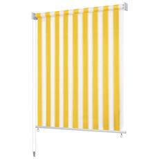 Tenda A Rullo Per Esterni 200x140 Cm A Strisce Giallo E Bianco