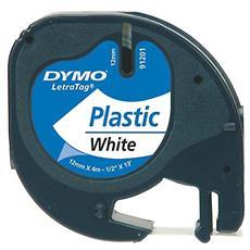 Nastro in Plastica per Etichettatrice Formato 12 mm x 4 m Nero e Bianco