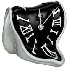 Orologio da tavolo ''Orologio tempo molle'' in resina decorata a mano Meccanismo al quarzo tedesco UTS Dimensione cm 14x15x13 Colore alluminio e nero