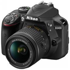 """D3400 Nero Kit AF-P DX 18-55 mm f / 3.5-5.6G VR Sensore CMOS DX 24.2 Mpx Display 3"""" Filmati Full HD Bluetooth"""