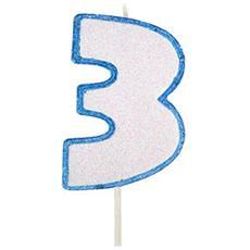 Candela Glitter Azzurra Per Torta Di Compleanno Modecor - 3