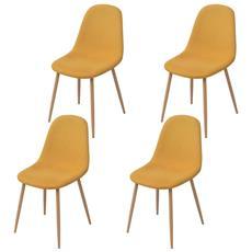 4 Pz Sedie Per Sala Da Pranzo In Stoffa Gialla
