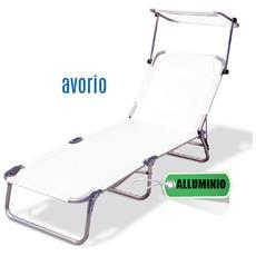 Lettino Mare Textilene, Tubo In Alluminio, 190x60xh. 27 Cm Avorio