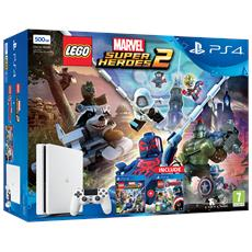 Console Playstation 4 PS4 500 Gb Slim White + LEGO Marvel Super Heroes 2 + LEGO Avengers Limited Bundle