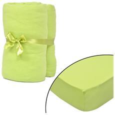 Set 2 Lenzuola Con Gli Angoli Verde Per Materasso 180x200-200x220cm