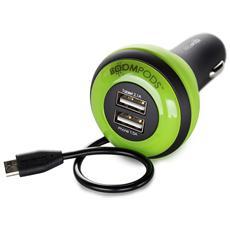 Carpod Car caricabatt. 4 Amp Micro-USB verde