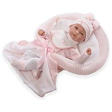 Baby Reborn - Bambola Originale Africa, Tuta E Coperta Rosa - 2,88 Kg 48cm