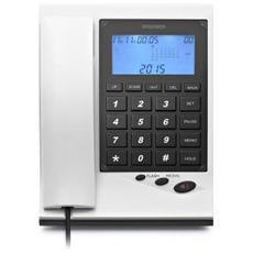 Telefono Analogico Digitale LCD Nero e Bianco 38 Contatti
