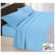 Completo Lenzuola Matrimoniale Cotone Colore Azzurro Prodotto In Italia